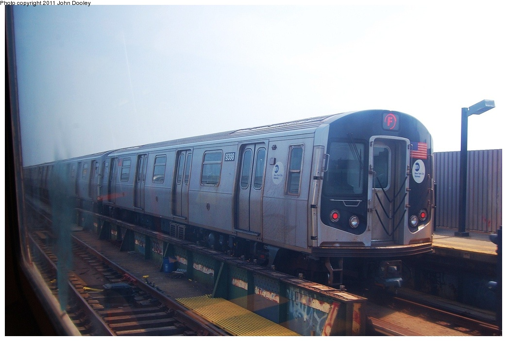 (240k, 1044x701)<br><b>Country:</b> United States<br><b>City:</b> New York<br><b>System:</b> New York City Transit<br><b>Line:</b> BMT Culver Line<br><b>Location:</b> Ditmas Avenue <br><b>Route:</b> F<br><b>Car:</b> R-160A (Option 1) (Alstom, 2008-2009, 5 car sets)  9398 <br><b>Photo by:</b> John Dooley<br><b>Date:</b> 7/20/2011<br><b>Viewed (this week/total):</b> 2 / 194