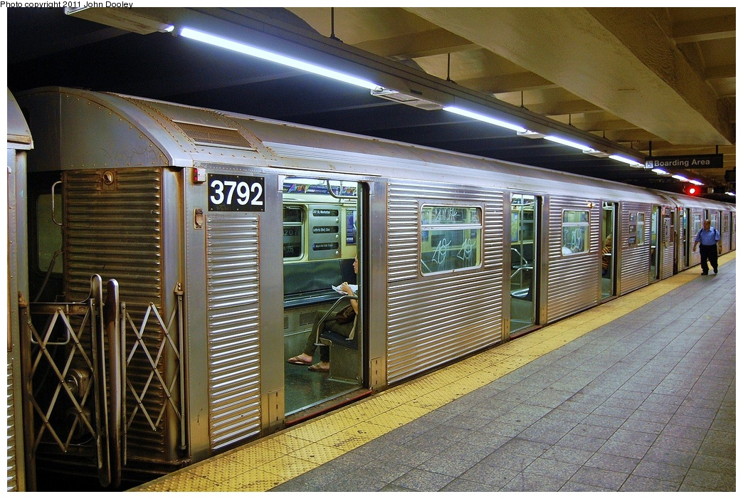 (407k, 1044x701)<br><b>Country:</b> United States<br><b>City:</b> New York<br><b>System:</b> New York City Transit<br><b>Line:</b> IND 8th Avenue Line<br><b>Location:</b> 207th Street <br><b>Route:</b> A<br><b>Car:</b> R-32 (Budd, 1964)  3792 <br><b>Photo by:</b> John Dooley<br><b>Date:</b> 8/15/2011<br><b>Viewed (this week/total):</b> 0 / 177