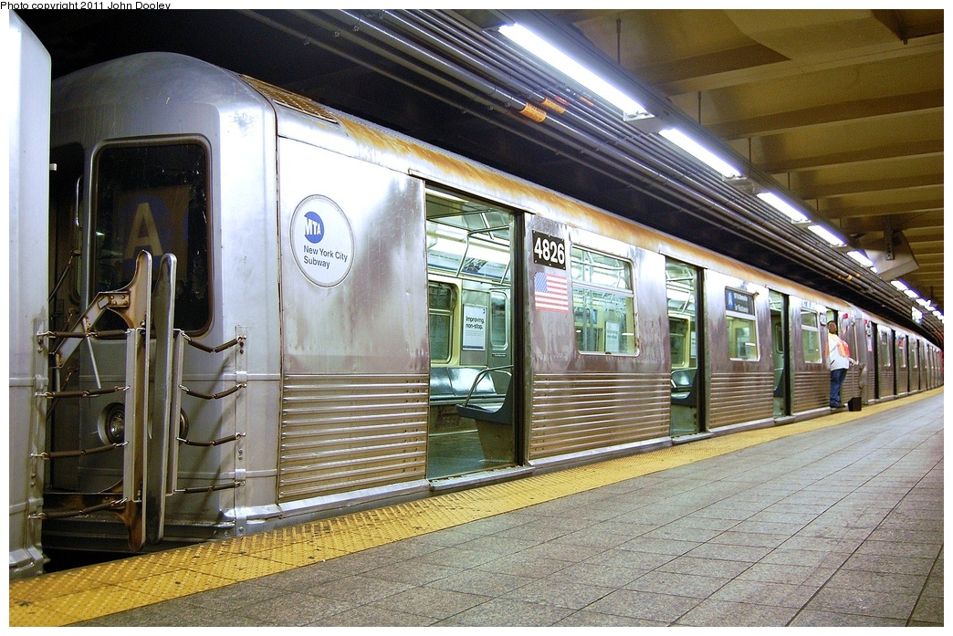 (395k, 1044x697)<br><b>Country:</b> United States<br><b>City:</b> New York<br><b>System:</b> New York City Transit<br><b>Line:</b> IND 8th Avenue Line<br><b>Location:</b> 207th Street <br><b>Route:</b> A<br><b>Car:</b> R-42 (St. Louis, 1969-1970)  4826 <br><b>Photo by:</b> John Dooley<br><b>Date:</b> 8/15/2011<br><b>Viewed (this week/total):</b> 0 / 248