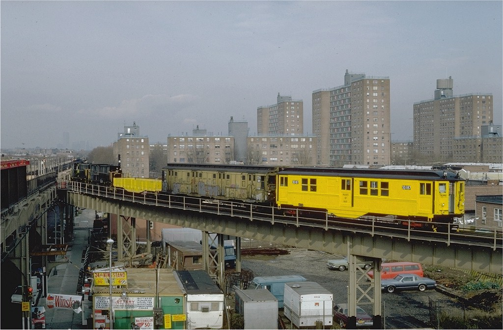(203k, 1024x673)<br><b>Country:</b> United States<br><b>City:</b> New York<br><b>System:</b> New York City Transit<br><b>Line:</b> BMT West End Line<br><b>Location:</b> Bay 50th Street <br><b>Car:</b> Low-V 30187 (ex-4642)<br><b>Photo by:</b> Steve Zabel<br><b>Collection of:</b> Joe Testagrose<br><b>Date:</b> 12/3/1981<br><b>Viewed (this week/total):</b> 2 / 5780
