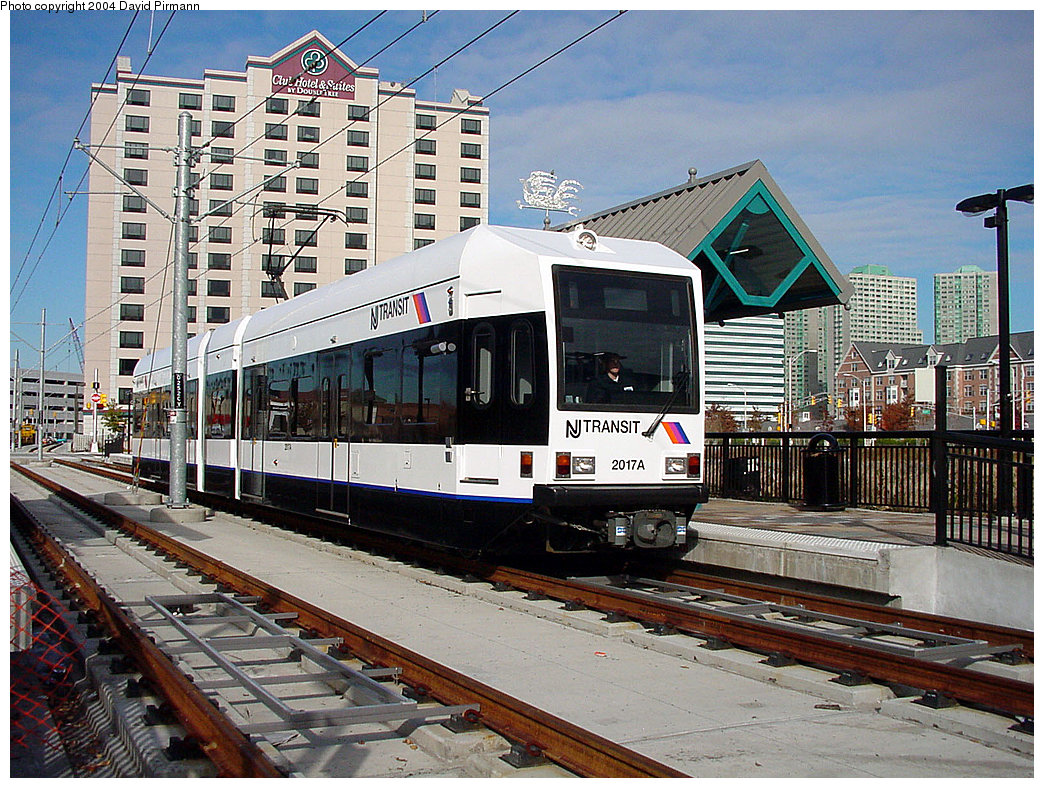 (321k, 1044x788)<br><b>Country:</b> United States<br><b>City:</b> Jersey City, NJ<br><b>System:</b> Hudson Bergen Light Rail<br><b>Location:</b> Harsimus Cove <br><b>Car:</b> NJT-HBLR LRV (Kinki-Sharyo, 1998-99)  2017 <br><b>Photo by:</b> David Pirmann<br><b>Date:</b> 11/12/2000<br><b>Viewed (this week/total):</b> 1 / 2763