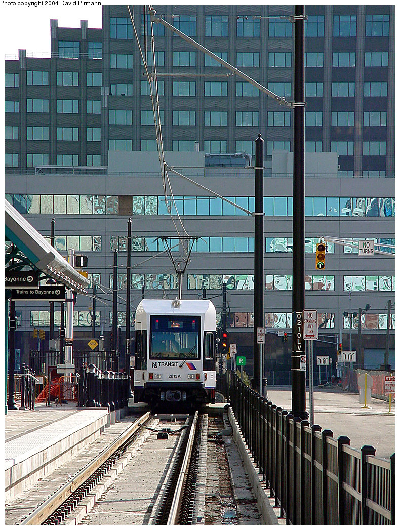 (364k, 790x1047)<br><b>Country:</b> United States<br><b>City:</b> Jersey City, NJ<br><b>System:</b> Hudson Bergen Light Rail<br><b>Location:</b> Harborside <br><b>Car:</b> NJT-HBLR LRV (Kinki-Sharyo, 1998-99)  2013 <br><b>Photo by:</b> David Pirmann<br><b>Date:</b> 11/12/2000<br><b>Viewed (this week/total):</b> 0 / 2398