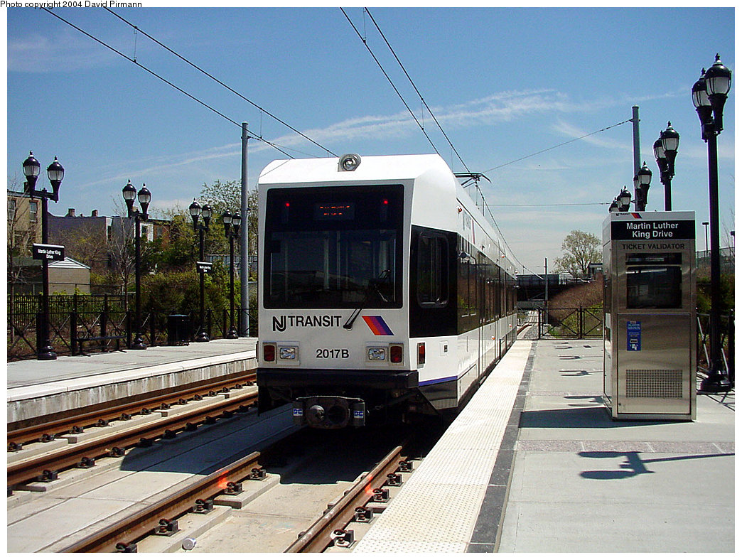 (282k, 1044x788)<br><b>Country:</b> United States<br><b>City:</b> Jersey City, NJ<br><b>System:</b> Hudson Bergen Light Rail<br><b>Location:</b> Martin Luther King Drive <br><b>Car:</b> NJT-HBLR LRV (Kinki-Sharyo, 1998-99)  2017 <br><b>Photo by:</b> David Pirmann<br><b>Date:</b> 4/29/2000<br><b>Viewed (this week/total):</b> 0 / 3054