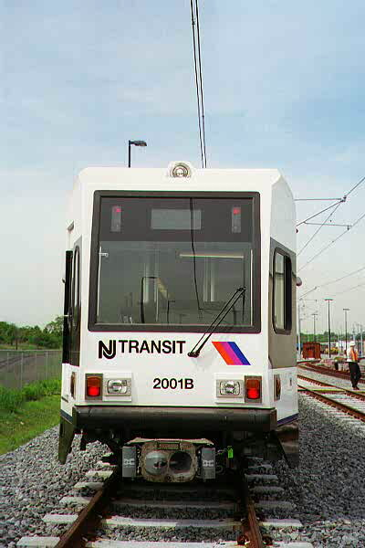 (70k, 400x600)<br><b>Country:</b> United States<br><b>City:</b> Jersey City, NJ<br><b>System:</b> Hudson Bergen Light Rail<br><b>Location:</b> HBLR Shops/Yard <br><b>Car:</b> NJT-HBLR LRV (Kinki-Sharyo, 1998-99)  2001 <br><b>Photo by:</b> Sidney Keyles<br><b>Date:</b> 6/5/1999<br><b>Notes:</b> Front view showing coupler<br><b>Viewed (this week/total):</b> 0 / 1732