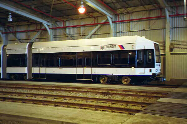 (83k, 600x400)<br><b>Country:</b> United States<br><b>City:</b> Jersey City, NJ<br><b>System:</b> Hudson Bergen Light Rail<br><b>Location:</b> HBLR Shops/Yard <br><b>Car:</b> NJT-HBLR LRV (Kinki-Sharyo, 1998-99)  2004 <br><b>Photo by:</b> Sidney Keyles<br><b>Date:</b> 6/5/1999<br><b>Viewed (this week/total):</b> 0 / 2796