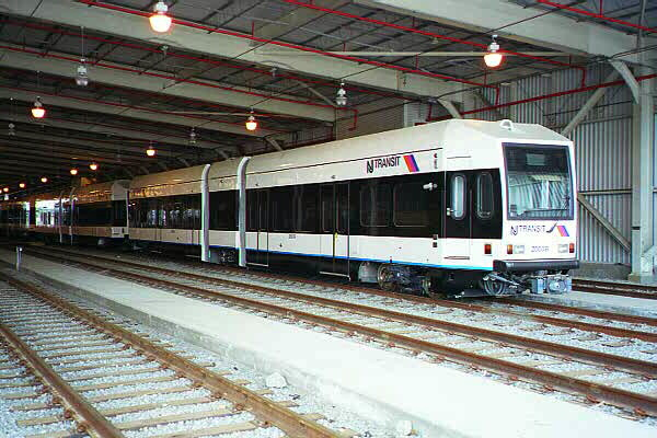 (116k, 600x400)<br><b>Country:</b> United States<br><b>City:</b> Jersey City, NJ<br><b>System:</b> Hudson Bergen Light Rail<br><b>Location:</b> HBLR Shops/Yard <br><b>Car:</b> NJT-HBLR LRV (Kinki-Sharyo, 1998-99)  2003 <br><b>Photo by:</b> Sidney Keyles<br><b>Date:</b> 6/5/1999<br><b>Viewed (this week/total):</b> 0 / 1705