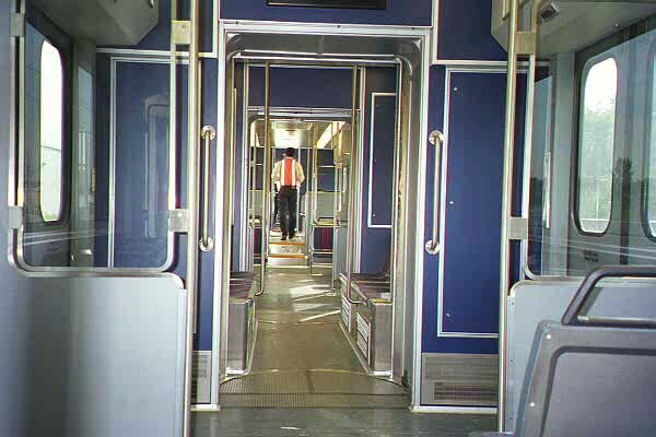 (84k, 600x400)<br><b>Country:</b> United States<br><b>City:</b> Jersey City, NJ<br><b>System:</b> Hudson Bergen Light Rail<br><b>Car:</b> NJT-HBLR LRV (Kinki-Sharyo, 1998-99)  2001 <br><b>Photo by:</b> Sidney Keyles<br><b>Date:</b> 6/5/1999<br><b>Notes:</b> Interior showing articulation joints<br><b>Viewed (this week/total):</b> 0 / 2383
