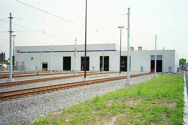 (106k, 600x400)<br><b>Country:</b> United States<br><b>City:</b> Jersey City, NJ<br><b>System:</b> Hudson Bergen Light Rail<br><b>Location:</b> HBLR Shops/Yard <br><b>Photo by:</b> Sidney Keyles<br><b>Date:</b> 6/5/1999<br><b>Notes:</b> Repair and maintenance shop<br><b>Viewed (this week/total):</b> 0 / 2004