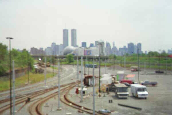 (40k, 600x400)<br><b>Country:</b> United States<br><b>City:</b> Jersey City, NJ<br><b>System:</b> Hudson Bergen Light Rail<br><b>Location:</b> HBLR Shops/Yard <br><b>Photo by:</b> Sidney Keyles<br><b>Date:</b> 6/5/1999<br><b>Notes:</b> North view from control tower showing area's proximity to new york city<br><b>Viewed (this week/total):</b> 0 / 2815