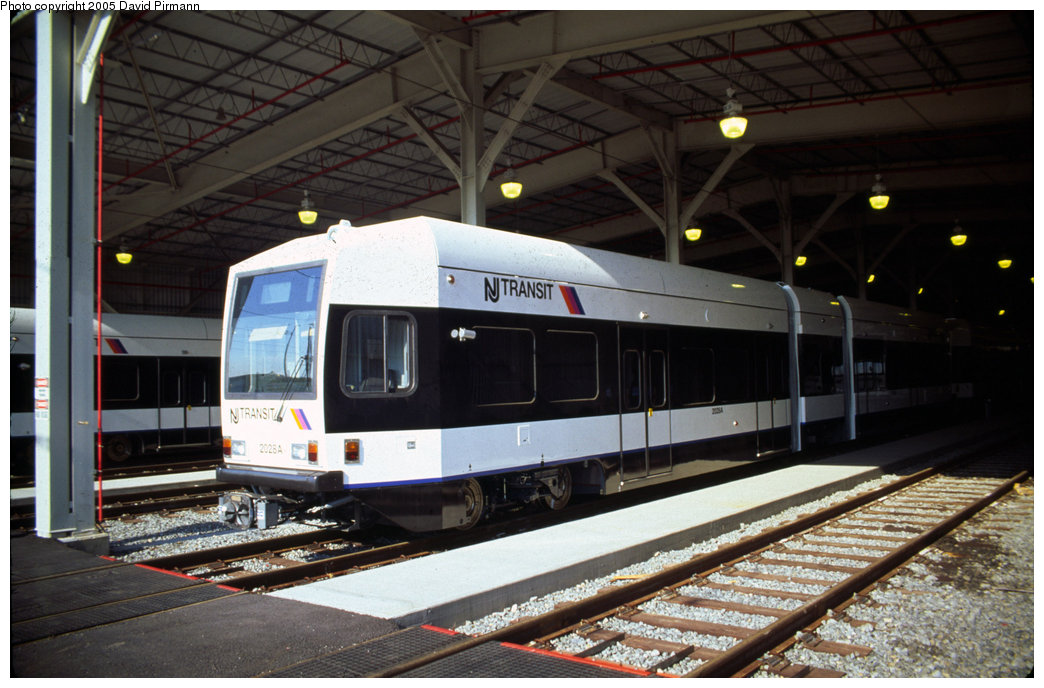 (189k, 1044x688)<br><b>Country:</b> United States<br><b>City:</b> Jersey City, NJ<br><b>System:</b> Hudson Bergen Light Rail<br><b>Location:</b> HBLR Shops/Yard <br><b>Car:</b> NJT-HBLR LRV (Kinki-Sharyo, 1998-99)  2028 <br><b>Photo by:</b> David Pirmann<br><b>Date:</b> 10/2/1999<br><b>Viewed (this week/total):</b> 2 / 2368