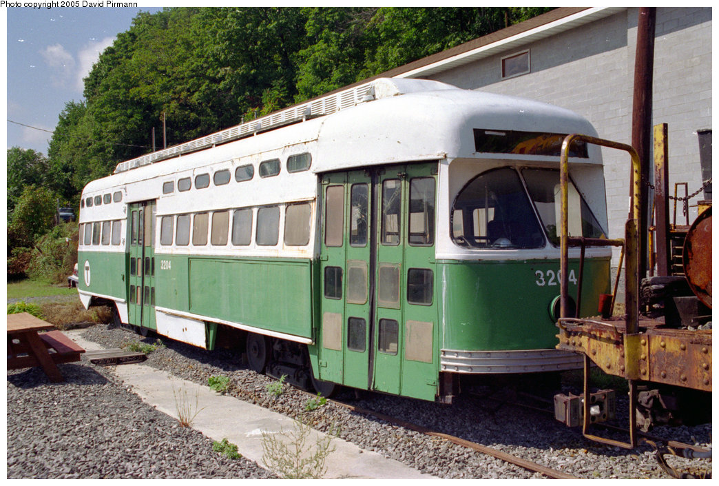 (263k, 1044x705)<br><b>Country:</b> United States<br><b>City:</b> Kingston, NY<br><b>System:</b> Trolley Museum of New York <br><b>Car:</b> MBTA/BSRy PCC Post-War All Electric (Pullman-Standard, 1946)  3204 <br><b>Photo by:</b> David Pirmann<br><b>Date:</b> 8/1996<br><b>Viewed (this week/total):</b> 3 / 5278