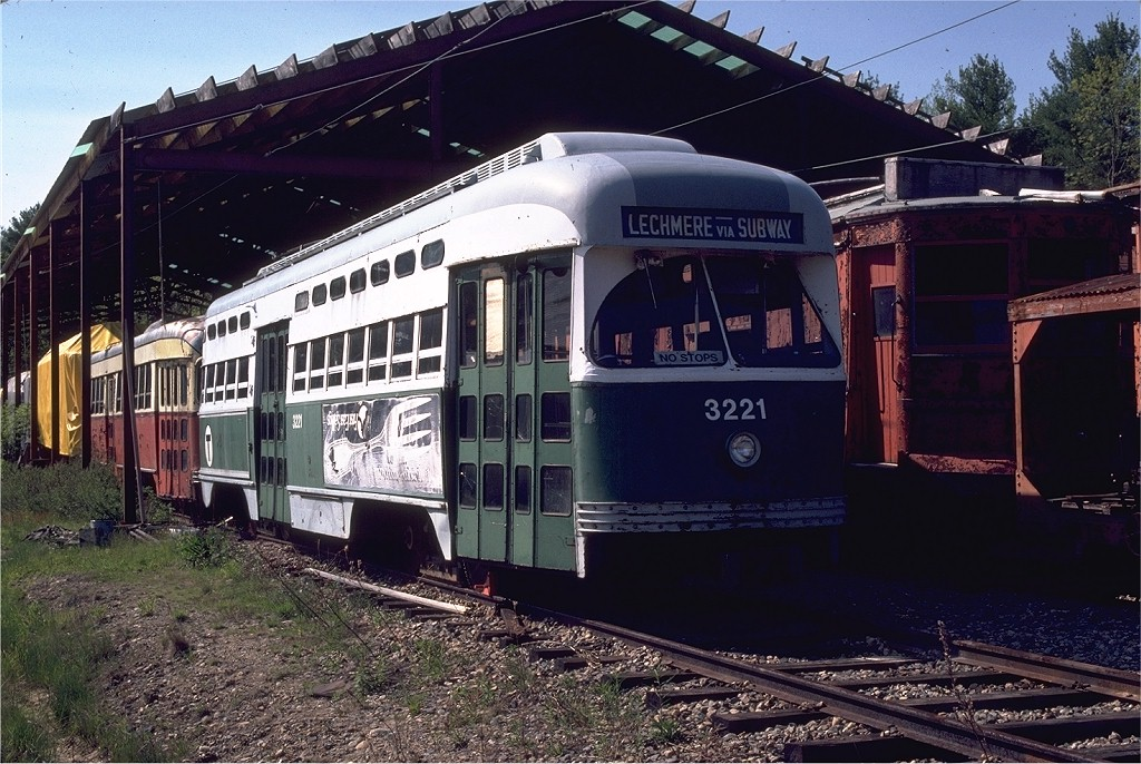 (232k, 1024x686)<br><b>Country:</b> United States<br><b>City:</b> Kennebunk, ME<br><b>System:</b> Seashore Trolley Museum <br><b>Car:</b> MBTA/BSRy PCC Post-War All Electric (Pullman-Standard, 1946)  3221 <br><b>Photo by:</b> Gerald H. Landau<br><b>Collection of:</b> Joe Testagrose<br><b>Date:</b> 5/24/1981<br><b>Viewed (this week/total):</b> 1 / 2299