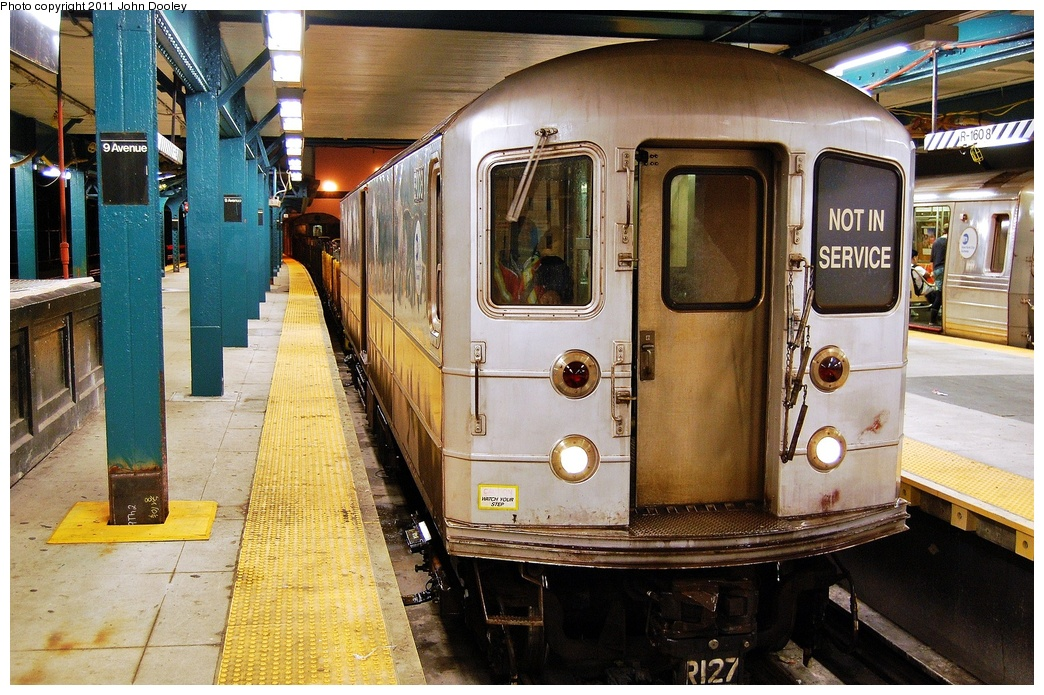 (389k, 1044x695)<br><b>Country:</b> United States<br><b>City:</b> New York<br><b>System:</b> New York City Transit<br><b>Line:</b> BMT West End Line<br><b>Location:</b> 9th Avenue <br><b>Route:</b> Work Service<br><b>Car:</b> R-127/R-134 (Kawasaki, 1991-1996) EP007 <br><b>Photo by:</b> John Dooley<br><b>Date:</b> 9/6/2011<br><b>Viewed (this week/total):</b> 3 / 440