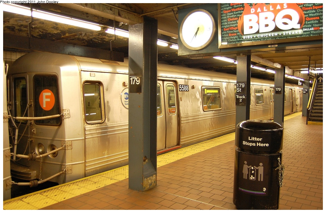 (359k, 1044x682)<br><b>Country:</b> United States<br><b>City:</b> New York<br><b>System:</b> New York City Transit<br><b>Line:</b> IND Queens Boulevard Line<br><b>Location:</b> 179th Street <br><b>Route:</b> F<br><b>Car:</b> R-46 (Pullman-Standard, 1974-75) 5588 <br><b>Photo by:</b> John Dooley<br><b>Date:</b> 10/30/2011<br><b>Viewed (this week/total):</b> 0 / 706