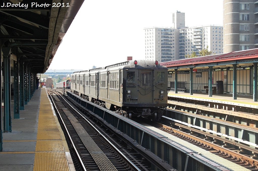 (388k, 1024x680)<br><b>Country:</b> United States<br><b>City:</b> New York<br><b>System:</b> New York City Transit<br><b>Line:</b> IRT Woodlawn Line<br><b>Location:</b> Mosholu Parkway <br><b>Route:</b> Fan Trip<br><b>Car:</b> Low-V (Museum Train) 5443 <br><b>Photo by:</b> John Dooley<br><b>Date:</b> 10/23/2011<br><b>Viewed (this week/total):</b> 1 / 366