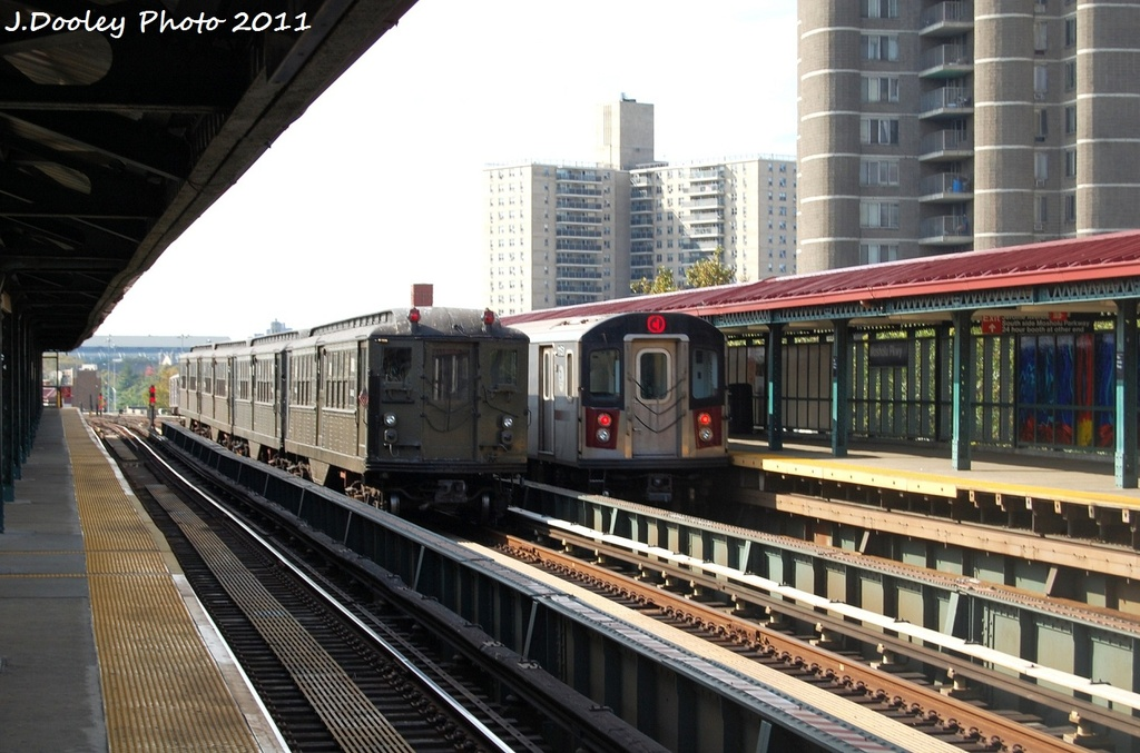 (316k, 1024x677)<br><b>Country:</b> United States<br><b>City:</b> New York<br><b>System:</b> New York City Transit<br><b>Line:</b> IRT Woodlawn Line<br><b>Location:</b> Mosholu Parkway <br><b>Route:</b> Fan Trip<br><b>Car:</b> Low-V (Museum Train) 5443 <br><b>Photo by:</b> John Dooley<br><b>Date:</b> 10/23/2011<br><b>Viewed (this week/total):</b> 4 / 443