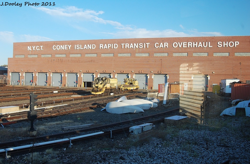 (385k, 1024x671)<br><b>Country:</b> United States<br><b>City:</b> New York<br><b>System:</b> New York City Transit<br><b>Location:</b> Coney Island Yard<br><b>Route:</b> Work Service<br><b>Car:</b> R-77 Locomotive  889 <br><b>Photo by:</b> John Dooley<br><b>Date:</b> 10/15/2011<br><b>Viewed (this week/total):</b> 0 / 286