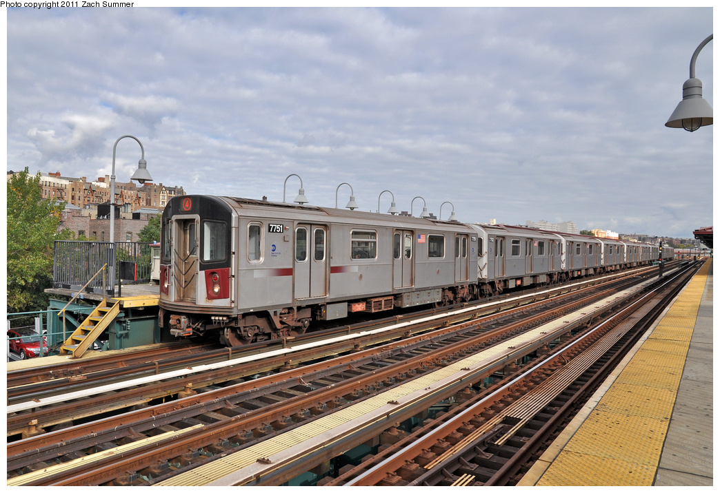 (416k, 1044x716)<br><b>Country:</b> United States<br><b>City:</b> New York<br><b>System:</b> New York City Transit<br><b>Line:</b> IRT Woodlawn Line<br><b>Location:</b> 167th Street <br><b>Route:</b> 4<br><b>Car:</b> R-142A (Supplemental Order, Kawasaki, 2003-2004)  7751 <br><b>Photo by:</b> Zach Summer<br><b>Date:</b> 10/23/2011<br><b>Viewed (this week/total):</b> 4 / 783