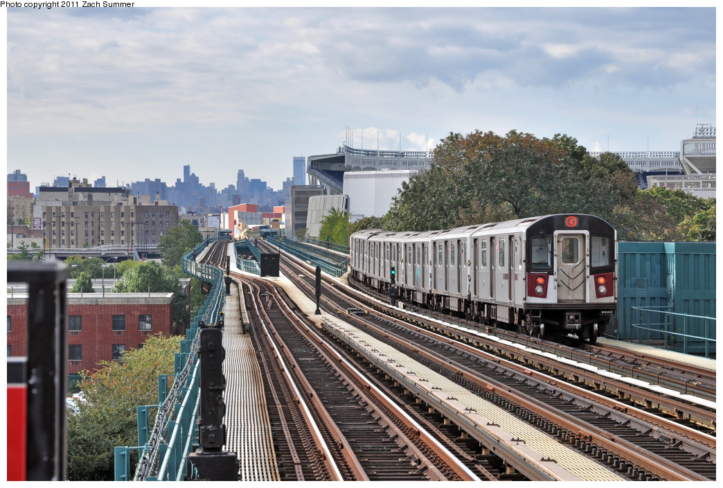 (414k, 1044x704)<br><b>Country:</b> United States<br><b>City:</b> New York<br><b>System:</b> New York City Transit<br><b>Line:</b> IRT Woodlawn Line<br><b>Location:</b> 167th Street <br><b>Route:</b> 4<br><b>Car:</b> R-142A (Supplemental Order, Kawasaki, 2003-2004)  7741 <br><b>Photo by:</b> Zach Summer<br><b>Date:</b> 10/23/2011<br><b>Viewed (this week/total):</b> 0 / 617