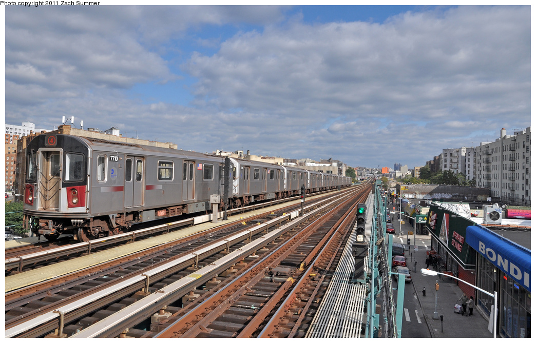(383k, 1044x669)<br><b>Country:</b> United States<br><b>City:</b> New York<br><b>System:</b> New York City Transit<br><b>Line:</b> IRT Woodlawn Line<br><b>Location:</b> 170th Street <br><b>Route:</b> 4<br><b>Car:</b> R-142A (Option Order, Kawasaki, 2002-2003)  7710 <br><b>Photo by:</b> Zach Summer<br><b>Date:</b> 10/23/2011<br><b>Viewed (this week/total):</b> 0 / 913