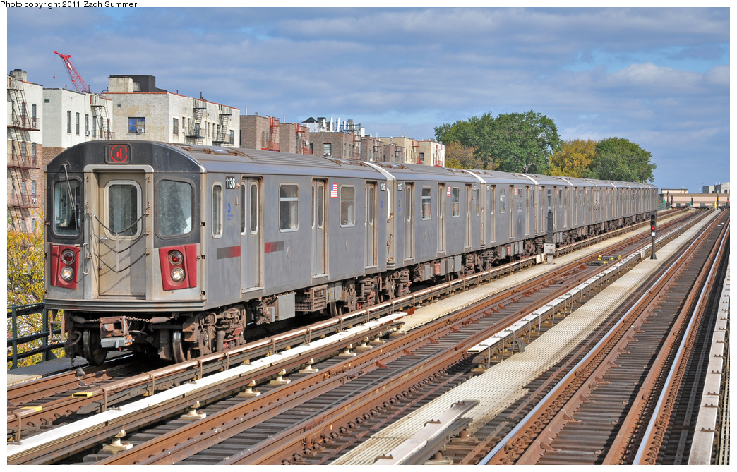 (445k, 1044x669)<br><b>Country:</b> United States<br><b>City:</b> New York<br><b>System:</b> New York City Transit<br><b>Line:</b> IRT Woodlawn Line<br><b>Location:</b> Mosholu Parkway <br><b>Route:</b> 4<br><b>Car:</b> R-142 (Option Order, Bombardier, 2002-2003)  1136 <br><b>Photo by:</b> Zach Summer<br><b>Date:</b> 10/23/2011<br><b>Viewed (this week/total):</b> 5 / 1158