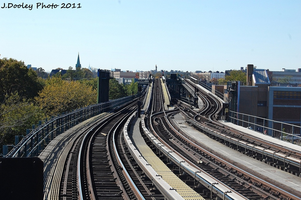 (396k, 1024x680)<br><b>Country:</b> United States<br><b>City:</b> New York<br><b>System:</b> New York City Transit<br><b>Location:</b> Westchester Yard<br><b>Photo by:</b> John Dooley<br><b>Date:</b> 11/5/2011<br><b>Notes:</b> Yard leads<br><b>Viewed (this week/total):</b> 1 / 485