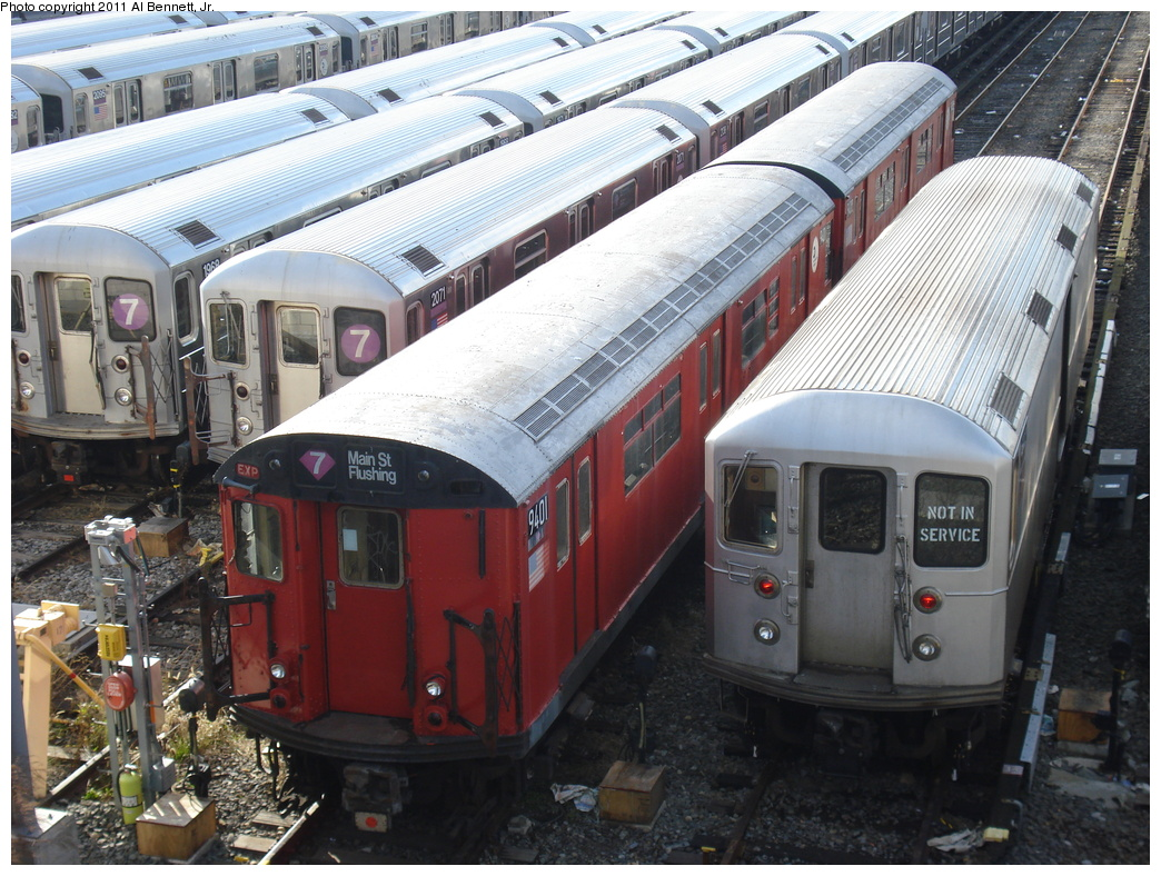 (391k, 1044x788)<br><b>Country:</b> United States<br><b>City:</b> New York<br><b>System:</b> New York City Transit<br><b>Location:</b> Corona Yard<br><b>Car:</b> R-36 World's Fair (St. Louis, 1963-64) 9401 <br><b>Photo by:</b> Al Bennett, Jr.<br><b>Date:</b> 12/1/2008<br><b>Viewed (this week/total):</b> 1 / 350