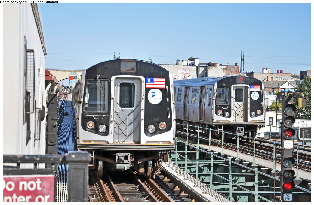 (378k, 1044x683)<br><b>Country:</b> United States<br><b>City:</b> New York<br><b>System:</b> New York City Transit<br><b>Line:</b> BMT Astoria Line<br><b>Location:</b> Astoria Boulevard/Hoyt Avenue <br><b>Route:</b> Q<br><b>Car:</b> R-160B (Kawasaki, 2005-2008)  8808 <br><b>Photo by:</b> Zach Summer<br><b>Date:</b> 10/30/2011<br><b>Viewed (this week/total):</b> 2 / 637