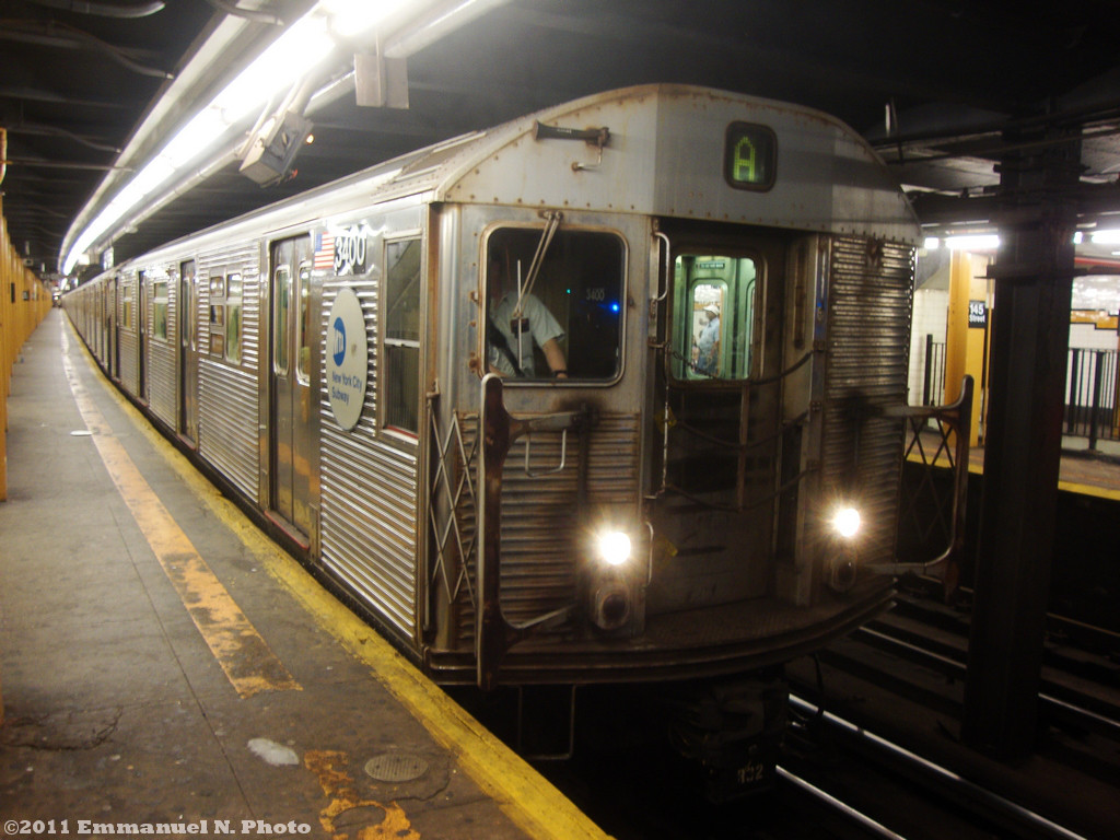 (221k, 1024x768)<br><b>Country:</b> United States<br><b>City:</b> New York<br><b>System:</b> New York City Transit<br><b>Line:</b> IND 8th Avenue Line<br><b>Location:</b> 145th Street <br><b>Route:</b> A<br><b>Car:</b> R-32 (Budd, 1964)  3400 <br><b>Photo by:</b> Emmanuel Nicolas<br><b>Viewed (this week/total):</b> 0 / 408
