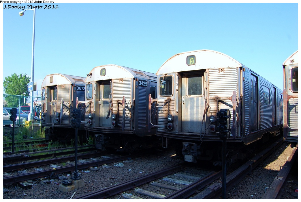 (314k, 1044x699)<br><b>Country:</b> United States<br><b>City:</b> New York<br><b>System:</b> New York City Transit<br><b>Location:</b> Rockaway Park Yard<br><b>Car:</b> R-32 (Budd, 1964)  3673/3425/3835 <br><b>Photo by:</b> John Dooley<br><b>Date:</b> 8/20/2011<br><b>Viewed (this week/total):</b> 1 / 873