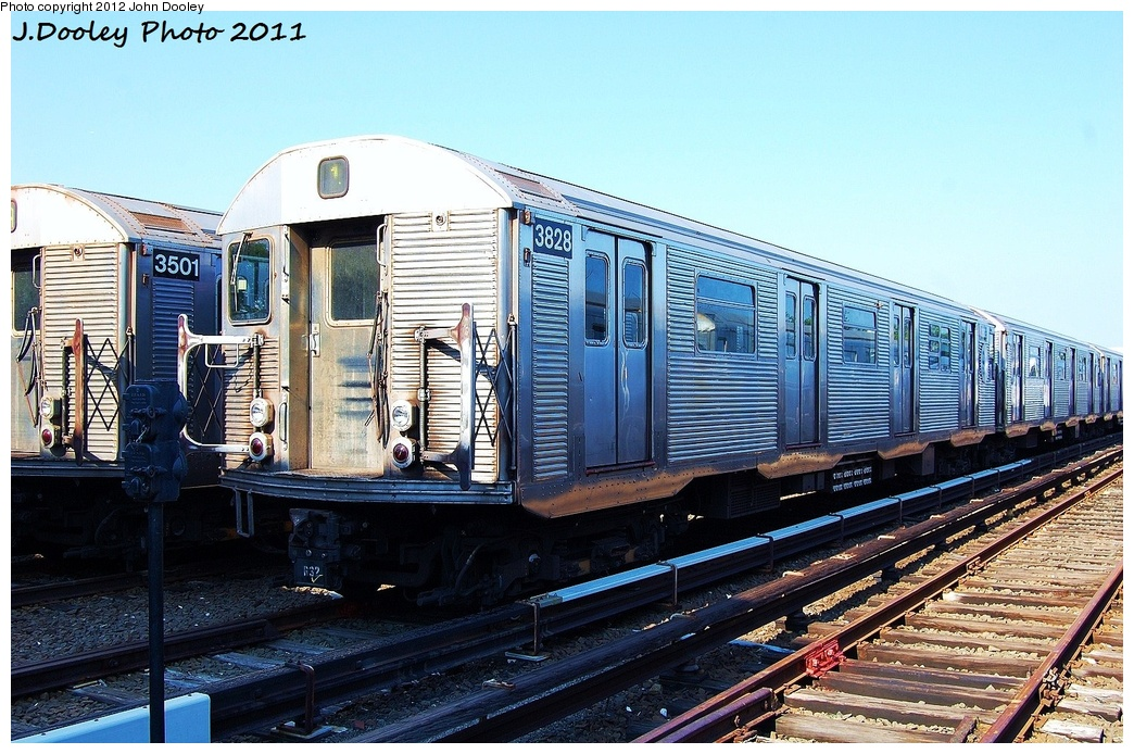 (382k, 1044x694)<br><b>Country:</b> United States<br><b>City:</b> New York<br><b>System:</b> New York City Transit<br><b>Location:</b> Rockaway Park Yard<br><b>Car:</b> R-32 (Budd, 1964)  3828 <br><b>Photo by:</b> John Dooley<br><b>Date:</b> 8/20/2011<br><b>Viewed (this week/total):</b> 1 / 324
