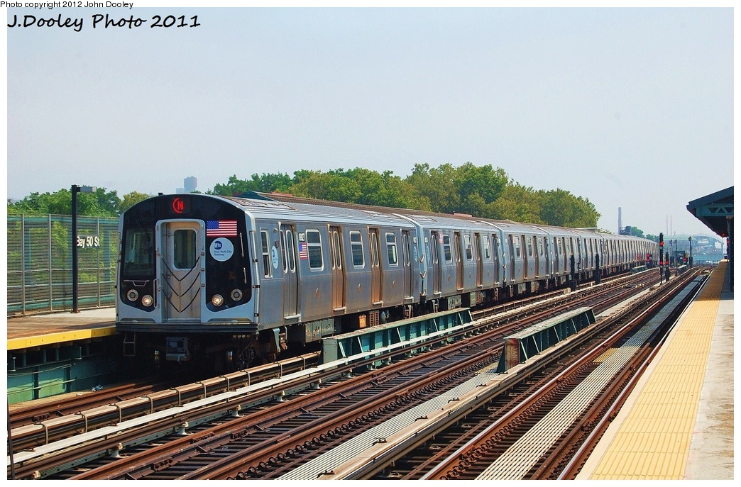 (359k, 1044x687)<br><b>Country:</b> United States<br><b>City:</b> New York<br><b>System:</b> New York City Transit<br><b>Line:</b> BMT West End Line<br><b>Location:</b> Bay 50th Street <br><b>Route:</b> N reroute<br><b>Car:</b> R-160B (Kawasaki, 2005-2008)  8927 <br><b>Photo by:</b> John Dooley<br><b>Date:</b> 7/20/2011<br><b>Viewed (this week/total):</b> 3 / 665