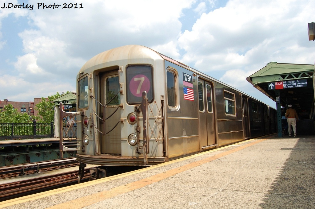 (318k, 1024x681)<br><b>Country:</b> United States<br><b>City:</b> New York<br><b>System:</b> New York City Transit<br><b>Line:</b> IRT Flushing Line<br><b>Location:</b> 52nd Street/Lincoln Avenue <br><b>Route:</b> 7<br><b>Car:</b> R-62A (Bombardier, 1984-1987)  1791 <br><b>Photo by:</b> John Dooley<br><b>Date:</b> 6/27/2011<br><b>Viewed (this week/total):</b> 7 / 352