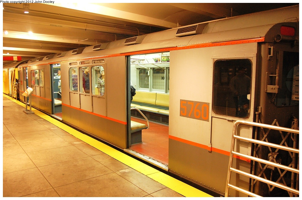 (346k, 1044x693)<br><b>Country:</b> United States<br><b>City:</b> New York<br><b>System:</b> New York City Transit<br><b>Location:</b> New York Transit Museum<br><b>Car:</b> R-12 (American Car & Foundry, 1948) 5760 <br><b>Photo by:</b> John Dooley<br><b>Date:</b> 10/2/2011<br><b>Viewed (this week/total):</b> 0 / 658