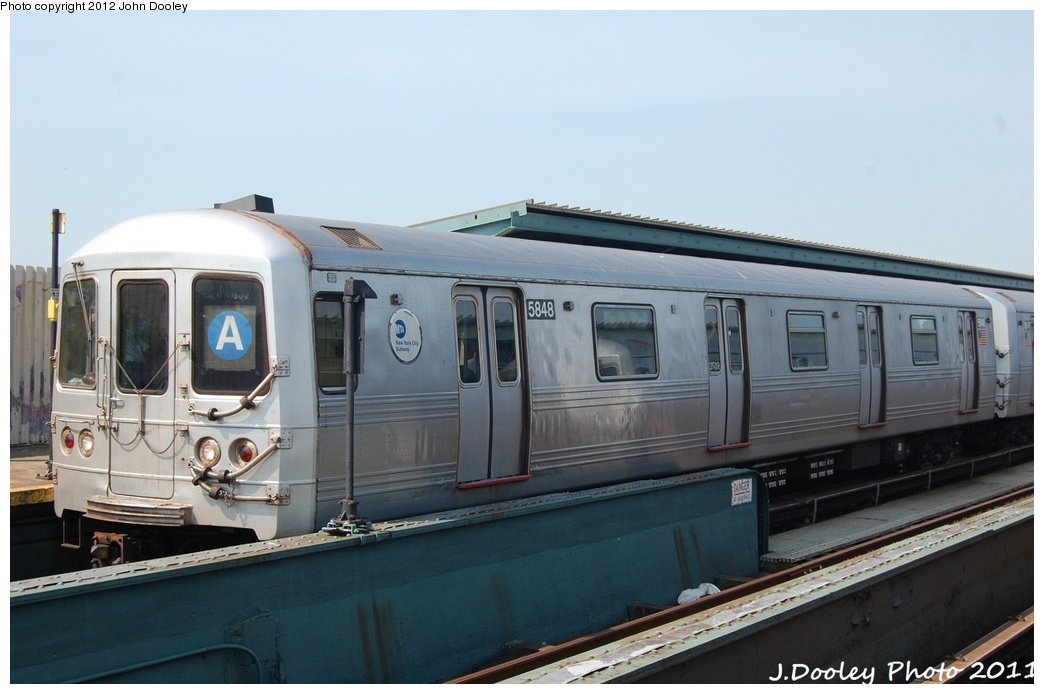 (245k, 1044x694)<br><b>Country:</b> United States<br><b>City:</b> New York<br><b>System:</b> New York City Transit<br><b>Line:</b> IND Fulton Street Line<br><b>Location:</b> Rockaway Boulevard <br><b>Route:</b> A<br><b>Car:</b> R-46 (Pullman-Standard, 1974-75) 5848 <br><b>Photo by:</b> John Dooley<br><b>Date:</b> 7/23/2011<br><b>Viewed (this week/total):</b> 3 / 121