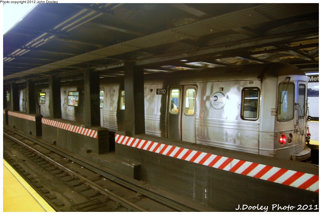 (287k, 1044x697)<br><b>Country:</b> United States<br><b>City:</b> New York<br><b>System:</b> New York City Transit<br><b>Line:</b> IND 8th Avenue Line<br><b>Location:</b> Jay St./Metrotech (Borough Hall) <br><b>Route:</b> A<br><b>Car:</b> R-46 (Pullman-Standard, 1974-75) 6110 <br><b>Photo by:</b> John Dooley<br><b>Date:</b> 7/23/2011<br><b>Viewed (this week/total):</b> 1 / 302
