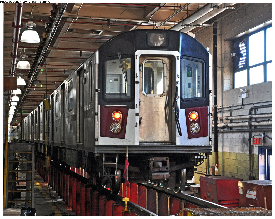 (512k, 1044x832)<br><b>Country:</b> United States<br><b>City:</b> New York<br><b>System:</b> New York City Transit<br><b>Location:</b> Westchester Yard<br><b>Car:</b> R-142A (Primary Order, Kawasaki, 1999-2002)  7400 <br><b>Photo by:</b> Zach Summer<br><b>Date:</b> 11/5/2011<br><b>Viewed (this week/total):</b> 0 / 360