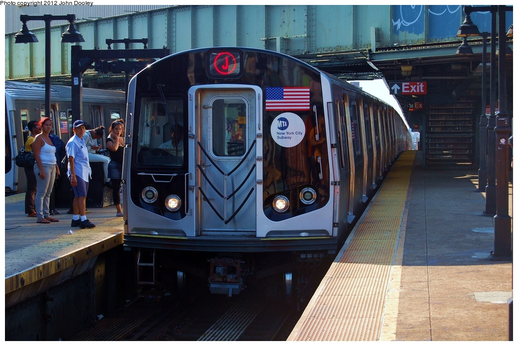 (338k, 1044x699)<br><b>Country:</b> United States<br><b>City:</b> New York<br><b>System:</b> New York City Transit<br><b>Line:</b> BMT Nassau Street/Jamaica Line<br><b>Location:</b> Myrtle Avenue <br><b>Route:</b> J<br><b>Car:</b> R-160A-1 (Alstom, 2005-2008, 4 car sets)  85xx <br><b>Photo by:</b> John Dooley<br><b>Date:</b> 8/17/2011<br><b>Viewed (this week/total):</b> 1 / 425