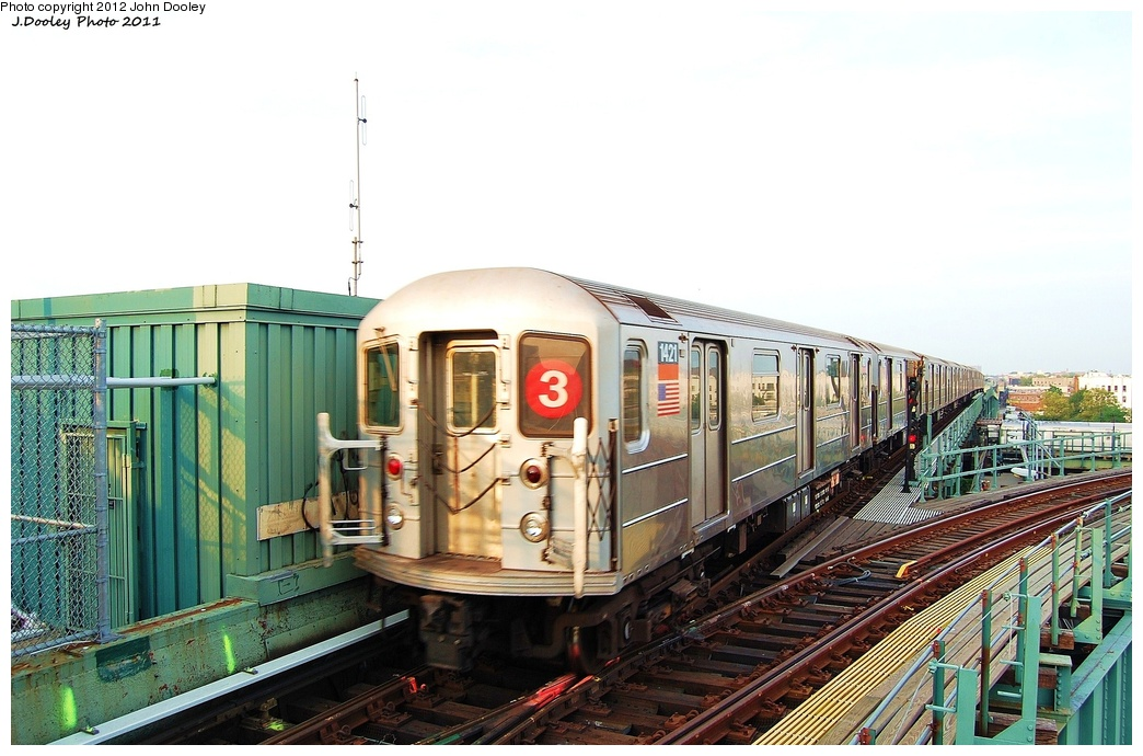 (300k, 1044x690)<br><b>Country:</b> United States<br><b>City:</b> New York<br><b>System:</b> New York City Transit<br><b>Line:</b> IRT Brooklyn Line<br><b>Location:</b> Junius Street <br><b>Route:</b> 3<br><b>Car:</b> R-62 (Kawasaki, 1983-1985)  1421 <br><b>Photo by:</b> John Dooley<br><b>Date:</b> 6/28/2011<br><b>Viewed (this week/total):</b> 2 / 813