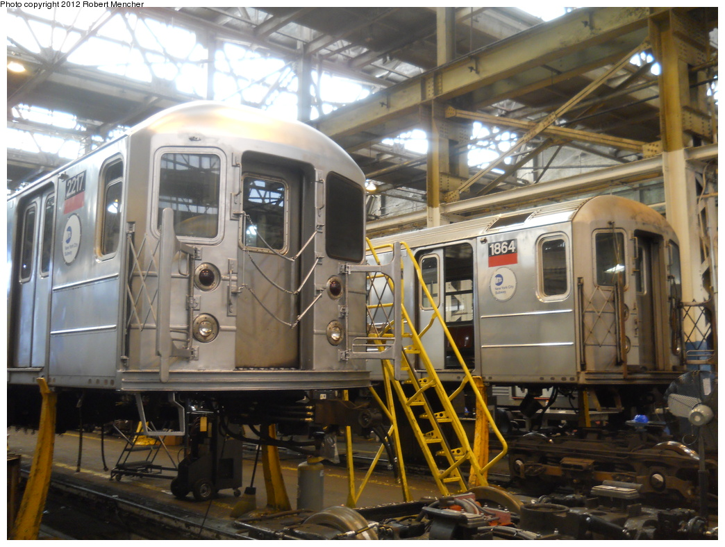 (388k, 1044x788)<br><b>Country:</b> United States<br><b>City:</b> New York<br><b>System:</b> New York City Transit<br><b>Location:</b> 207th Street Shop<br><b>Car:</b> R-62A (Bombardier, 1984-1987)  2217/1864 <br><b>Photo by:</b> Robert Mencher<br><b>Date:</b> 3/27/2011<br><b>Viewed (this week/total):</b> 0 / 111