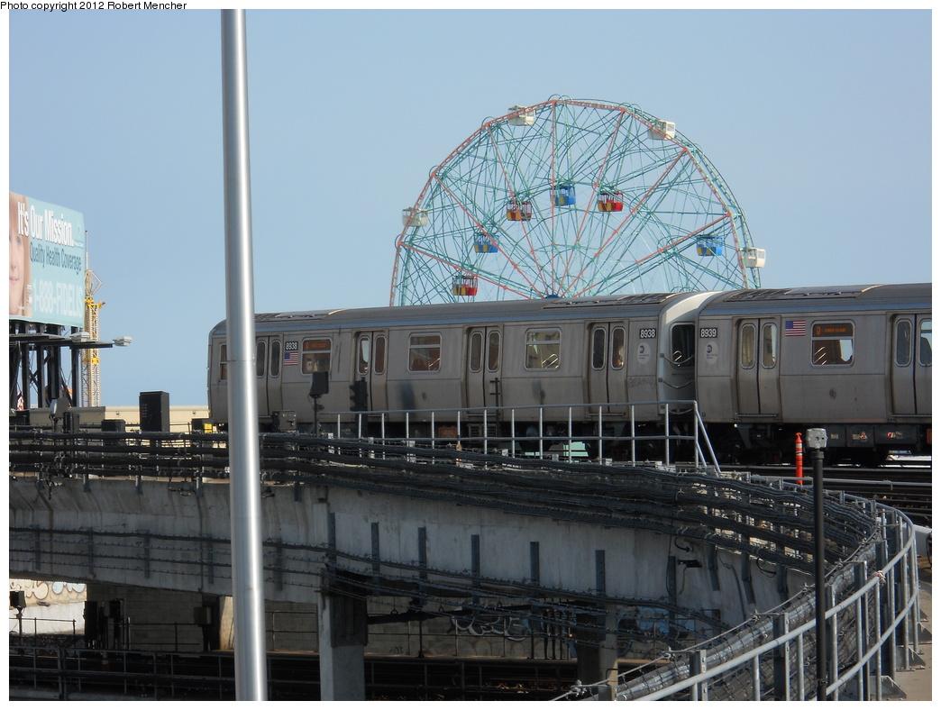 (360k, 1044x788)<br><b>Country:</b> United States<br><b>City:</b> New York<br><b>System:</b> New York City Transit<br><b>Location:</b> Coney Island/Stillwell Avenue<br><b>Route:</b> Q<br><b>Car:</b> R-160B (Kawasaki, 2005-2008)  8938 <br><b>Photo by:</b> Robert Mencher<br><b>Date:</b> 5/13/2011<br><b>Viewed (this week/total):</b> 6 / 596