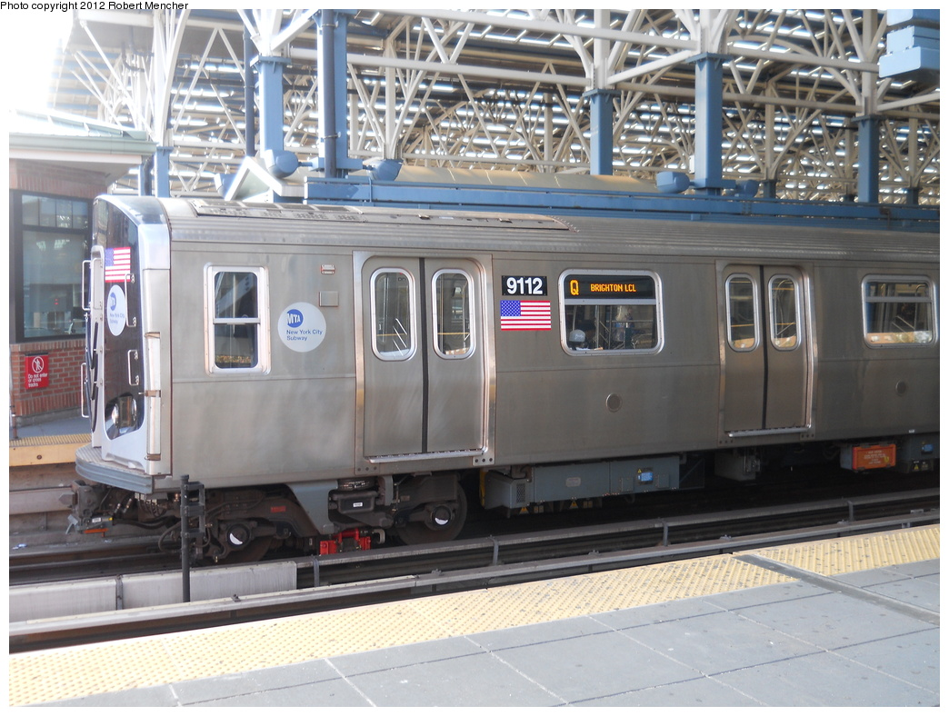 (385k, 1044x788)<br><b>Country:</b> United States<br><b>City:</b> New York<br><b>System:</b> New York City Transit<br><b>Location:</b> Coney Island/Stillwell Avenue<br><b>Route:</b> Q<br><b>Car:</b> R-160B (Option 1) (Kawasaki, 2008-2009)  9112 <br><b>Photo by:</b> Robert Mencher<br><b>Date:</b> 5/13/2011<br><b>Viewed (this week/total):</b> 2 / 814