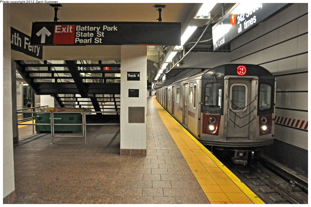 (428k, 1044x697)<br><b>Country:</b> United States<br><b>City:</b> New York<br><b>System:</b> New York City Transit<br><b>Line:</b> IRT West Side Line<br><b>Location:</b> South Ferry (New Station) <br><b>Route:</b> 2 Reroute<br><b>Car:</b> R-142 (Primary Order, Bombardier, 1999-2002)  6516 <br><b>Photo by:</b> Zach Summer<br><b>Date:</b> 11/27/2011<br><b>Viewed (this week/total):</b> 5 / 1365