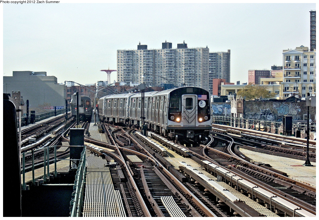 (494k, 1044x720)<br><b>Country:</b> United States<br><b>City:</b> New York<br><b>System:</b> New York City Transit<br><b>Line:</b> BMT Brighton Line<br><b>Location:</b> Brighton Beach <br><b>Car:</b> R-160B (Kawasaki, 2005-2008)  8908 <br><b>Photo by:</b> Zach Summer<br><b>Date:</b> 8/19/2011<br><b>Notes:</b> Weekend G.O., train is relaying, service cut back at Brighton Beach.<br><b>Viewed (this week/total):</b> 0 / 435