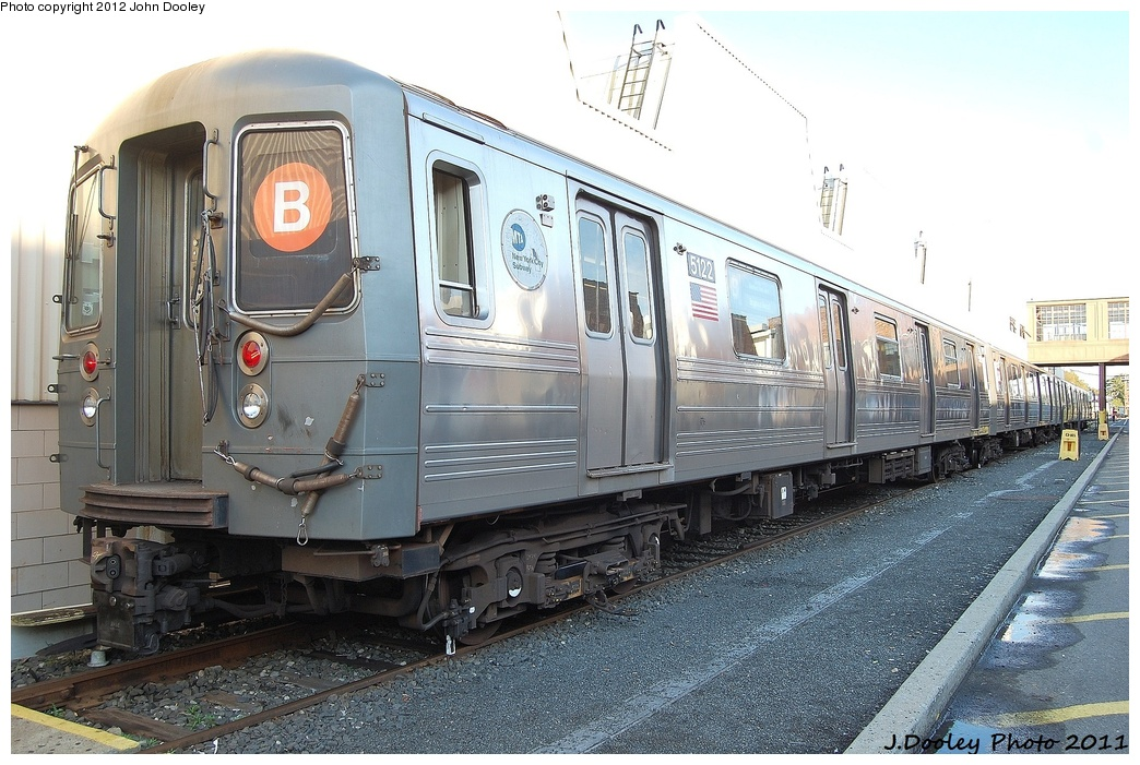 (345k, 1044x701)<br><b>Country:</b> United States<br><b>City:</b> New York<br><b>System:</b> New York City Transit<br><b>Location:</b> Coney Island Yard<br><b>Car:</b> R-68A (Kawasaki, 1988-1989)  5122 <br><b>Photo by:</b> John Dooley<br><b>Date:</b> 10/15/2011<br><b>Viewed (this week/total):</b> 2 / 229