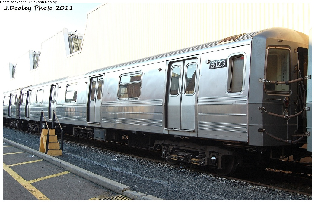 (316k, 1044x675)<br><b>Country:</b> United States<br><b>City:</b> New York<br><b>System:</b> New York City Transit<br><b>Location:</b> Coney Island Yard<br><b>Car:</b> R-68A (Kawasaki, 1988-1989)  5123 <br><b>Photo by:</b> John Dooley<br><b>Date:</b> 10/15/2011<br><b>Viewed (this week/total):</b> 3 / 203