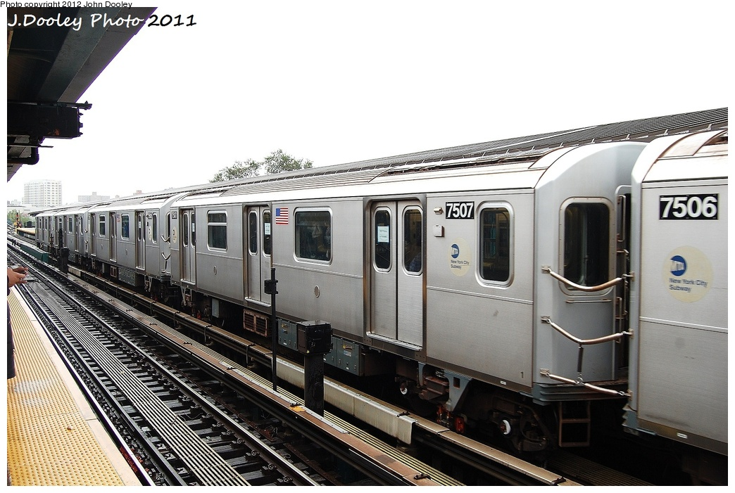 (321k, 1044x701)<br><b>Country:</b> United States<br><b>City:</b> New York<br><b>System:</b> New York City Transit<br><b>Line:</b> IRT Flushing Line<br><b>Location:</b> Willets Point/Mets (fmr. Shea Stadium) <br><b>Route:</b> Testing<br><b>Car:</b> R-142A (Primary Order, Kawasaki, 1999-2002)  7507 <br><b>Photo by:</b> John Dooley<br><b>Date:</b> 9/20/2011<br><b>Notes:</b> R-188 CBTC conversion test train.<br><b>Viewed (this week/total):</b> 0 / 634