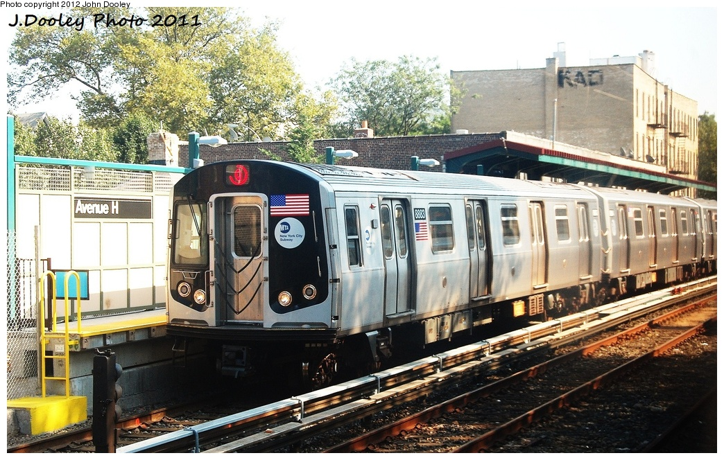 (396k, 1044x664)<br><b>Country:</b> United States<br><b>City:</b> New York<br><b>System:</b> New York City Transit<br><b>Line:</b> BMT Brighton Line<br><b>Location:</b> Avenue H <br><b>Route:</b> Q<br><b>Car:</b> R-160B (Kawasaki, 2005-2008)  8883 <br><b>Photo by:</b> John Dooley<br><b>Date:</b> 9/12/2011<br><b>Viewed (this week/total):</b> 3 / 707