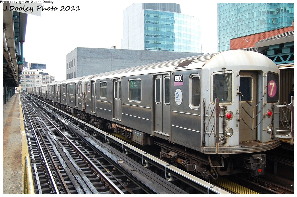 (384k, 1044x692)<br><b>Country:</b> United States<br><b>City:</b> New York<br><b>System:</b> New York City Transit<br><b>Line:</b> IRT Flushing Line<br><b>Location:</b> Court House Square/45th Road <br><b>Route:</b> 7<br><b>Car:</b> R-62A (Bombardier, 1984-1987)  1800 <br><b>Photo by:</b> John Dooley<br><b>Date:</b> 9/20/2011<br><b>Viewed (this week/total):</b> 1 / 571