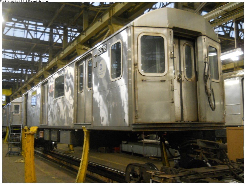 (362k, 1044x788)<br><b>Country:</b> United States<br><b>City:</b> New York<br><b>System:</b> New York City Transit<br><b>Location:</b> 207th Street Shop<br><b>Car:</b> R-142 (Primary Order, Bombardier, 1999-2002)  6578 <br><b>Photo by:</b> Robert Mencher<br><b>Date:</b> 2/11/2012<br><b>Viewed (this week/total):</b> 6 / 1036